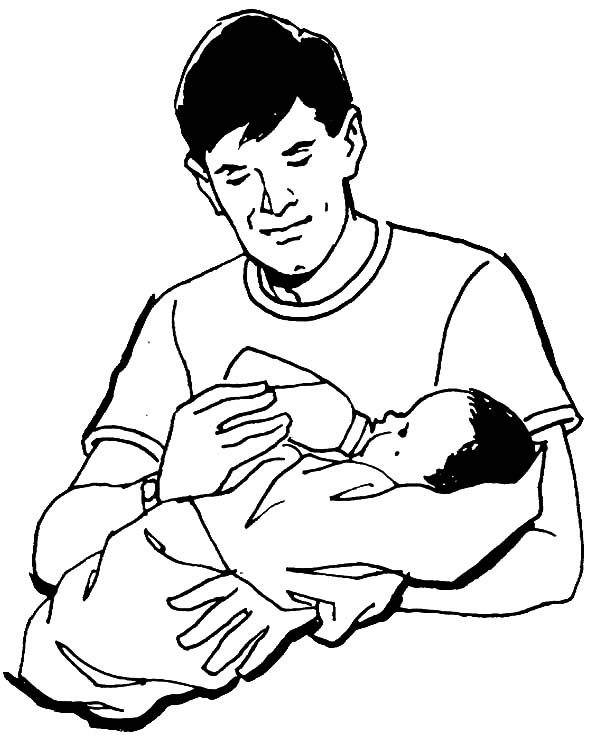 Best Dad, : Best Dad Milking His Baby Coloring Pages