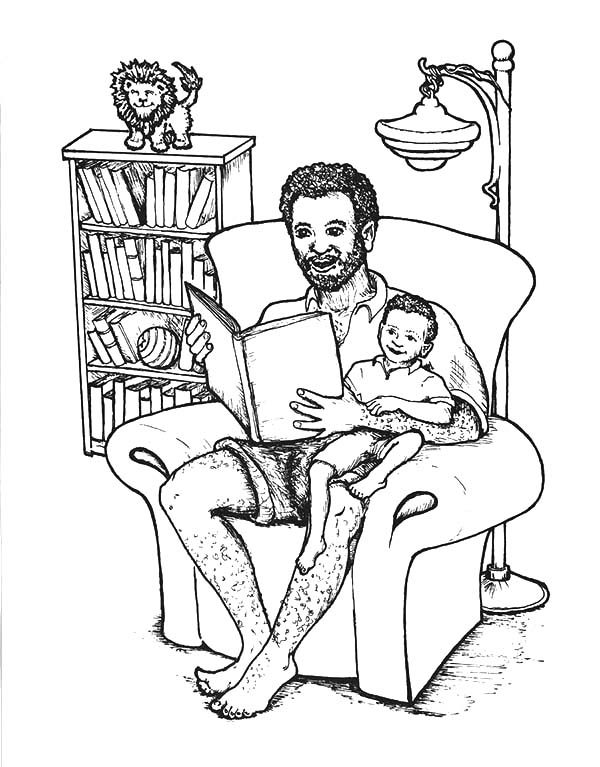 Best Dad, : Best Dad Read Amazing Tale Coloring Pages 2