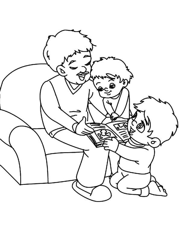 Best Dad, : Best Dad Reading Story Time Coloring Pages