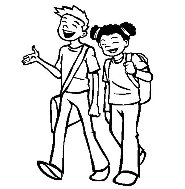 best friends going to school together coloring pages