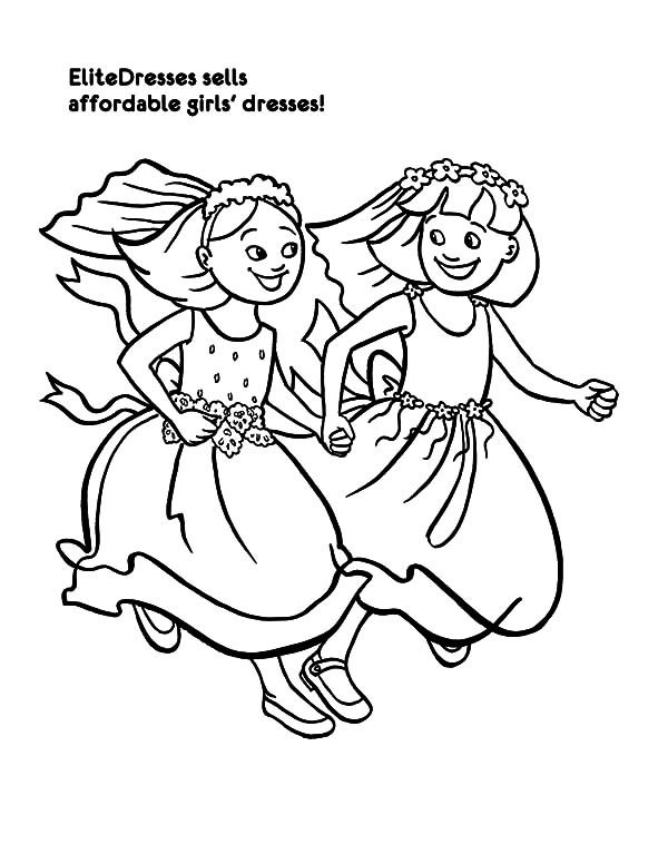 Best Friends, : Best Friends Maid of Honor Running Together Coloring Pages