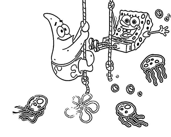 Best Friends, : Best Friends Sponge Bob and Patrick at Jellyfish Garden Coloring Pages