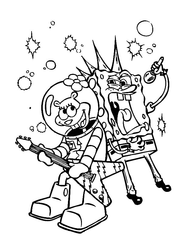 Best Friends Sponge Bob and Sandy Singing Together Coloring Pages