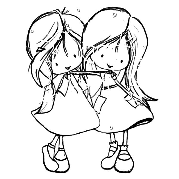 Best Friends Two Little Girl Coloring Pages: Best Friends ...