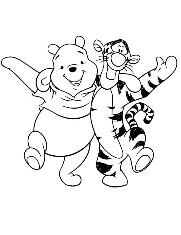 best friends winnie the pooh and tigger having fun coloring pages - Fun Coloring Pages