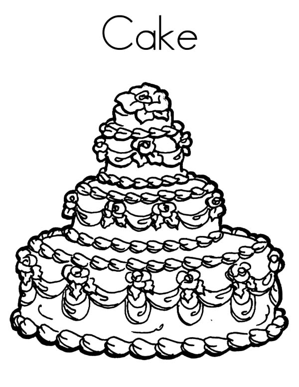 Wedding Cake Coloring Pages Printable Coloringstar Sketch