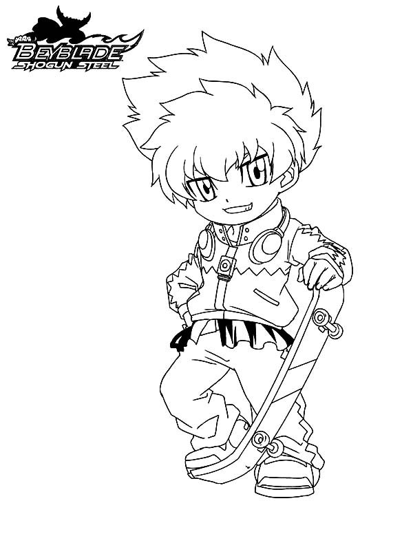 Beyblade, : Beyblade Eight and His Skateboard Coloring Pages 2