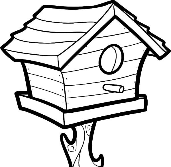 Bird House, : Big Bird House Coloring Pages
