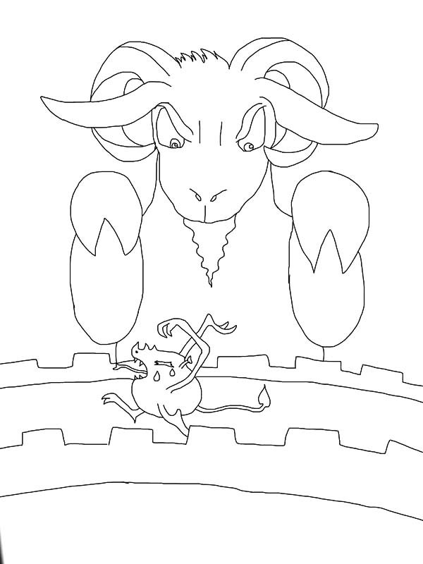 Billy the Goat, : Biggest Billy the Goat Kick Troll Out of the Bridge Coloring Pages