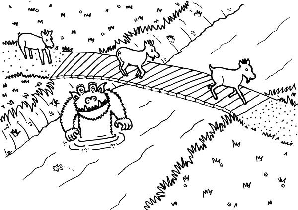 Billy the Goat, : Billy the Goat Fairy Tales Coloring Pages