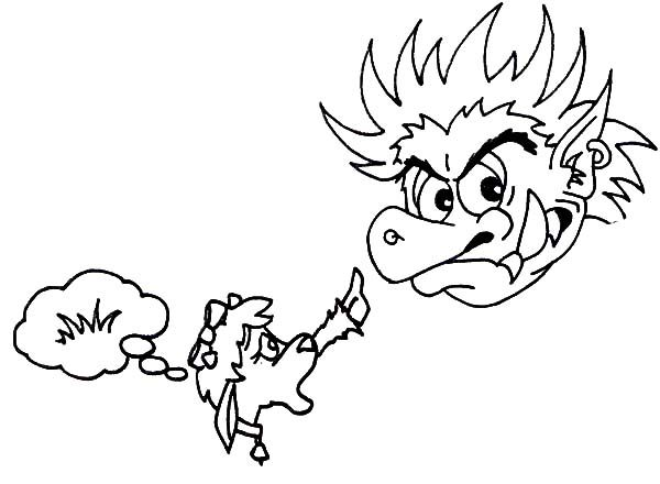 Billy the Goat, : Billy the Goat Versus the Troll Coloring Pages