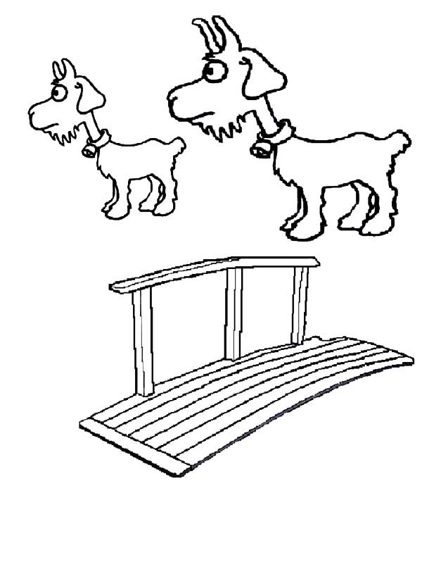 Billy the Goat, : Billy the Goat Want to Cross the Bridge Coloring Pages
