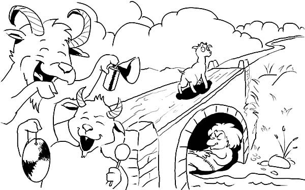 Billy the Goat, : Billy the Goat is Happy Passing the Bridge Coloring Pages