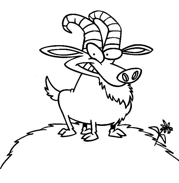 Billy the Goat, : Billy the Goat on a Hill Full of Grass Coloring Pages