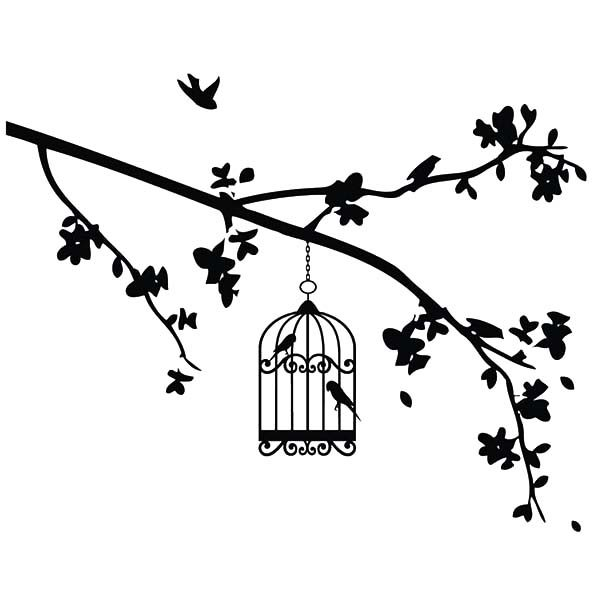 Bird Cage, : Bird Cage Hanging at the Edge of Branch Coloring Pages