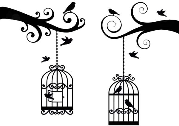 Bird Cage, : Bird Cage Lovely Vector Coloring Pages