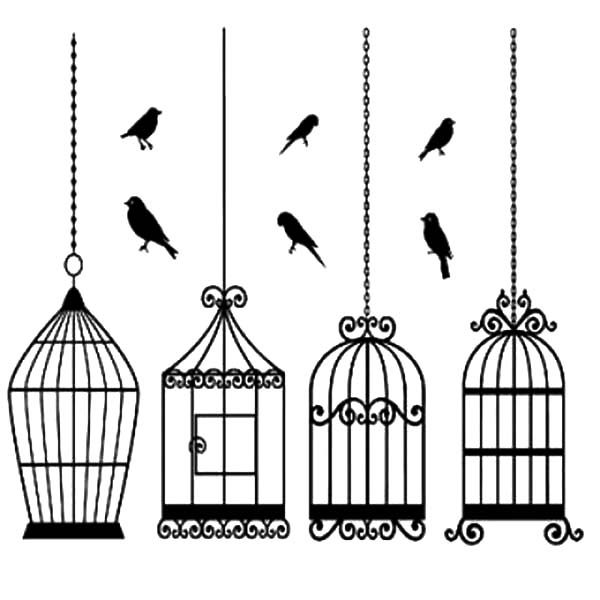 Bird Cage, : Bird Cage Special Design Coloring Pages