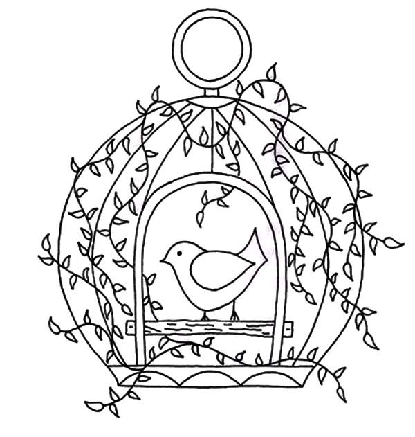 Bird Cage, : Bird Cage with Door Open Coloring Pages