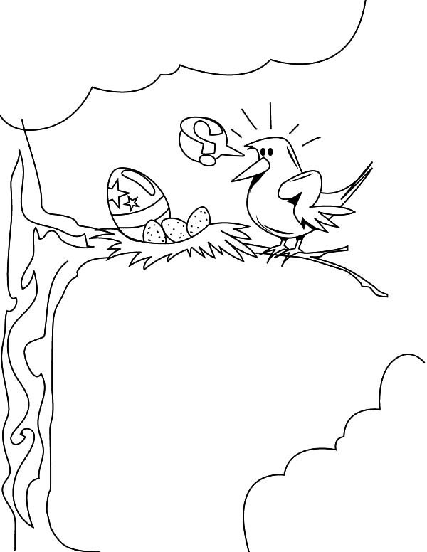 Bird Nest, : Bird Collecting Easter Eggs in Her Bird Nest Coloring Pages