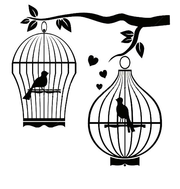 Bird Cage, : Bird Couple Separated Bird Cage Coloring Pages
