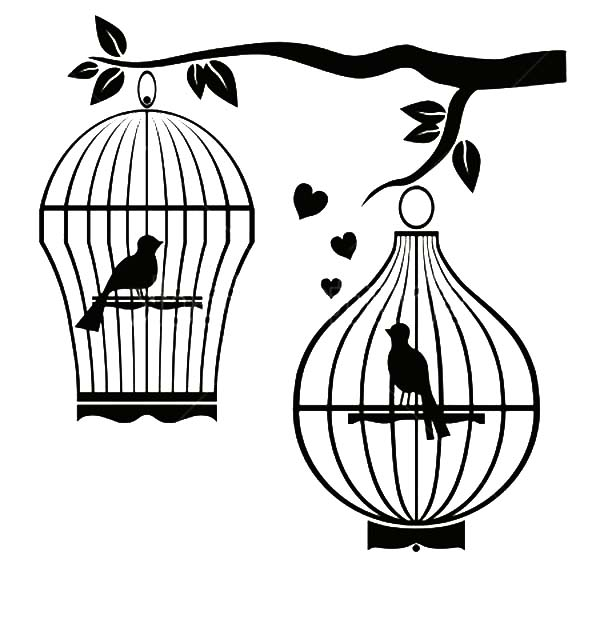 Bird Cage Couple Separated Coloring Pages