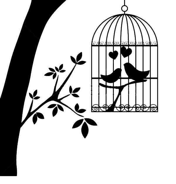 Bird Cage, : Bird Couple are in Love in Bird Cage Coloring Pages