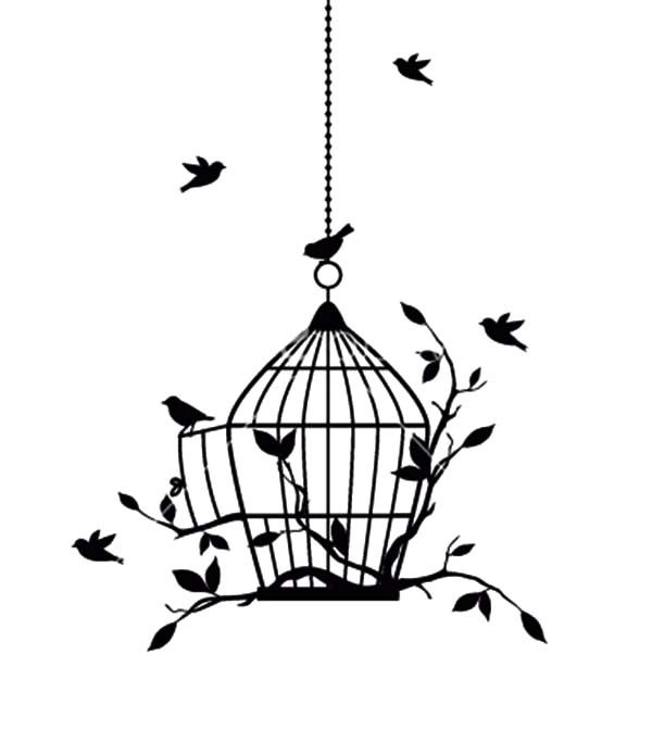 Bird Cage, : Bird Gathering in One Big Bird Cage Coloring Pages