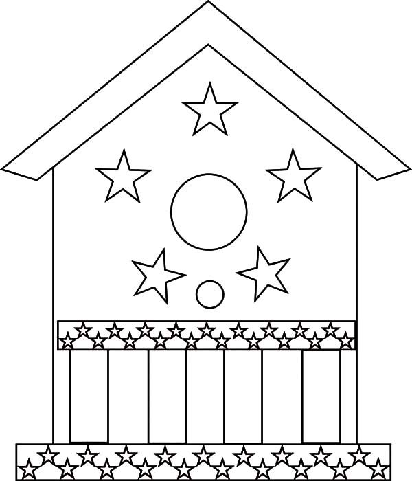 Bird House, : Bird House Decorated with Stars Coloring Pages