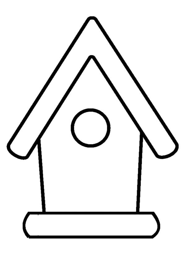 Bird House, : Bird House Outline Coloring Pages