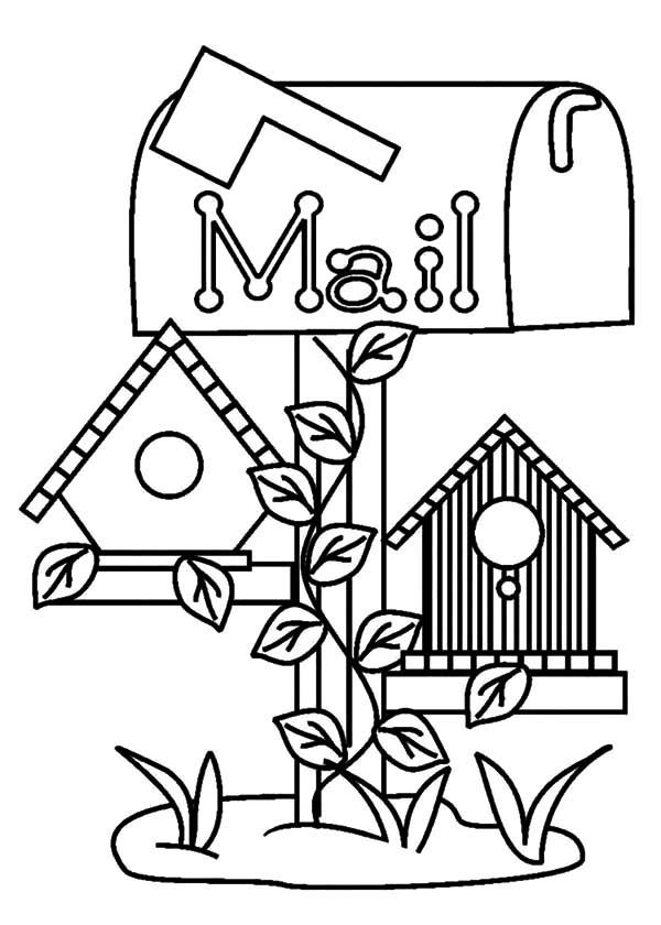 Bird House, : Bird House Under Mail Box Coloring Pages