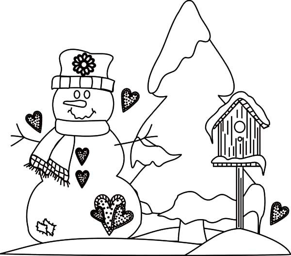 Bird House, : Bird House in Snowy Weather Coloring Pages