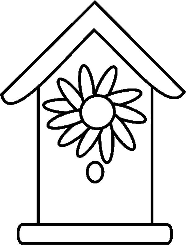 Bird House, : Bird House with Flower Door Coloring Pages