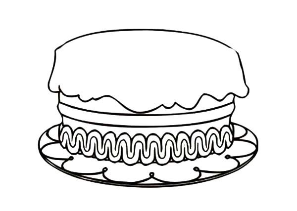 Cakes, : Birthday Cake Coloring Pages