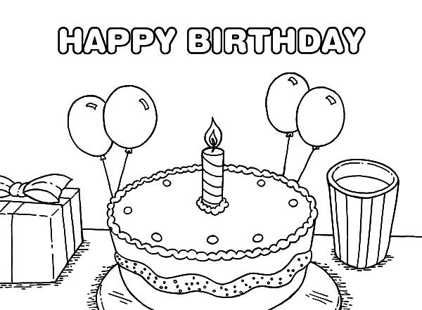 Birthday, : Birthday Cake Coloring Pages for Kids