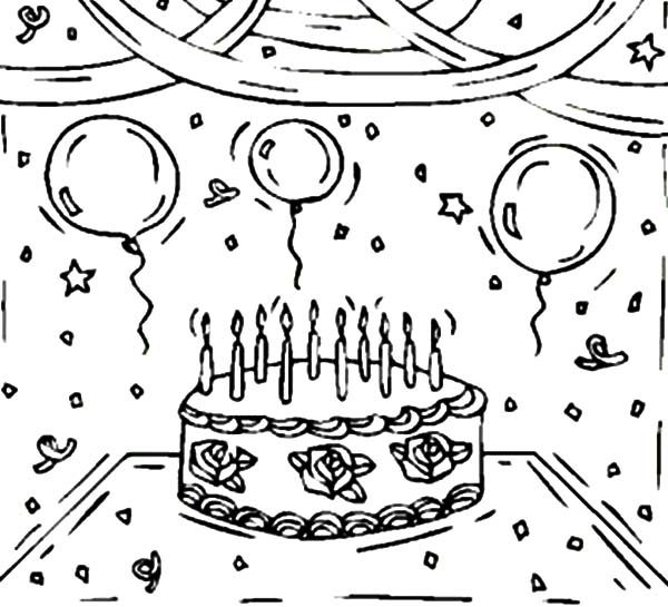 Birthday, : Birthday Cake and Balloons Coloring Pages