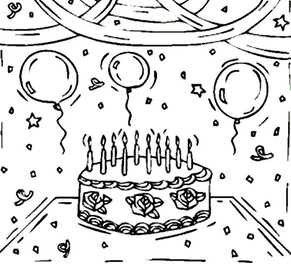 Birthday Cake And Balloons Coloring Pages Birthday Cake