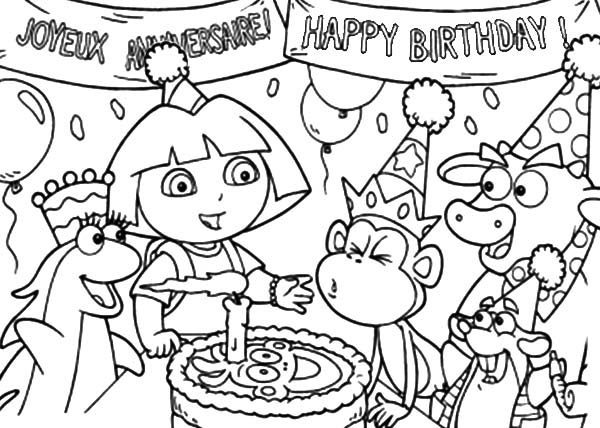 Birthday, : Birthday Cake for Boots Coloring Pages