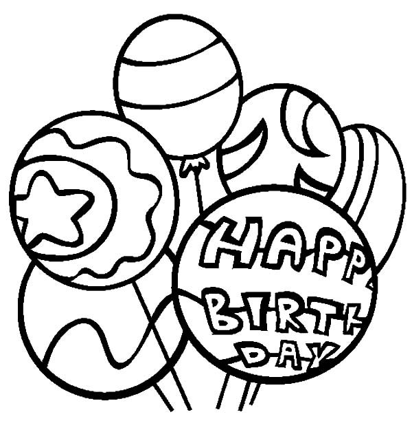 Birthday, : Birthday Party Balloons Coloring Pages