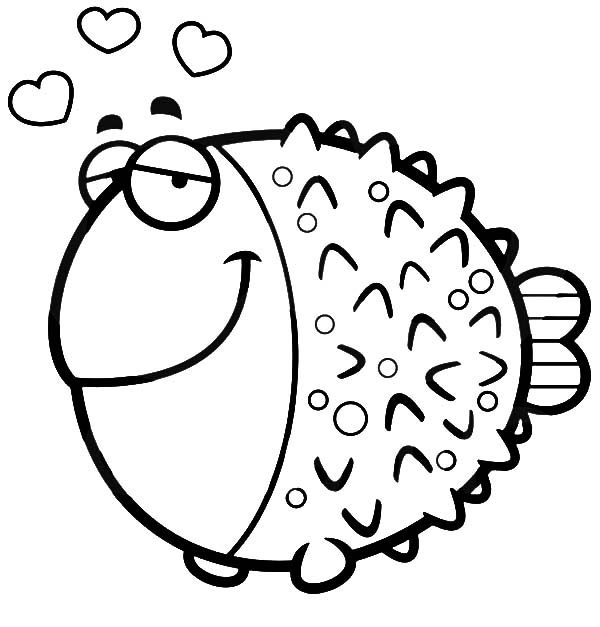 Blowfish, : Blowfish Fall in Love Coloring Pages