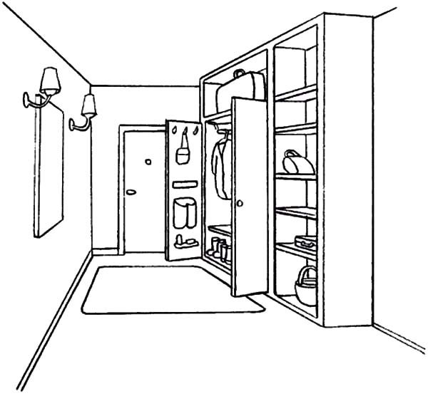 Bookshelf, : Bookshelf Coloring Pages for Kids