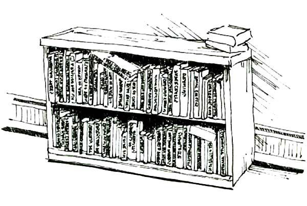Bookshelf, : Bookshelf Full of Books Coloring Pages