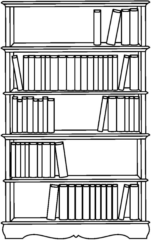 Bookshelf, : Bookshelf Picture Coloring Pages