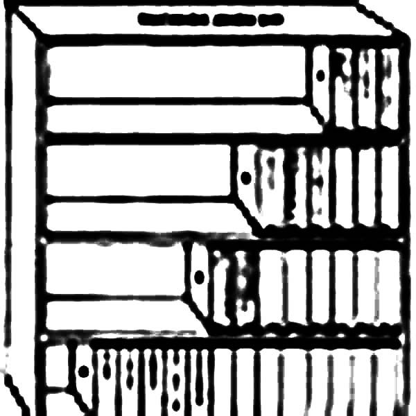 Bookshelf, : Bookshelf for Important Document Coloring Pages