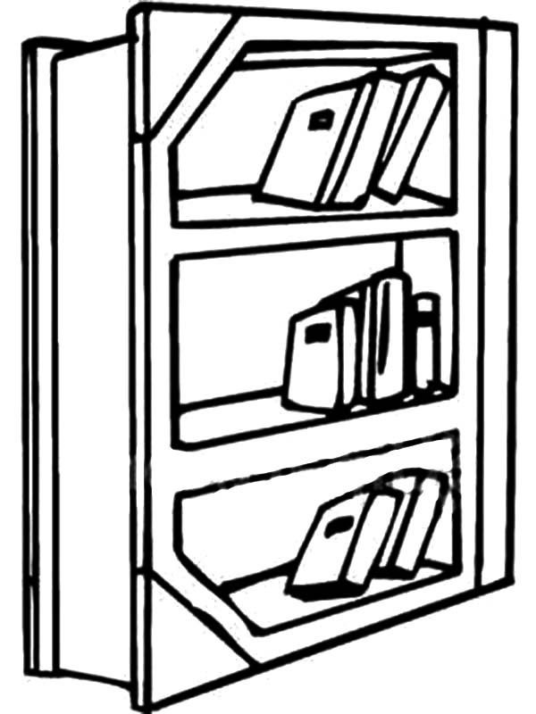 Bookshelf, : Bookshelf in the Library Coloring Pages