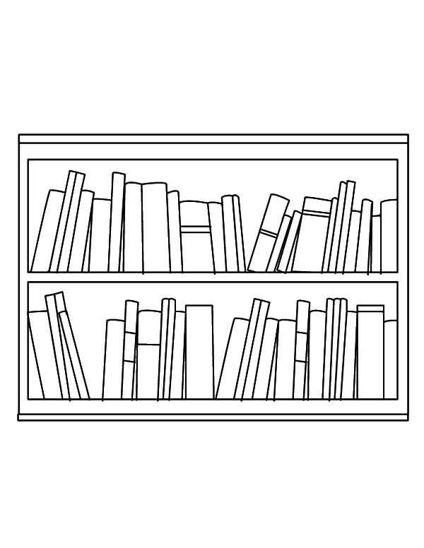 Bookshelf, : Bookshelf in the Living Room Coloring Pages