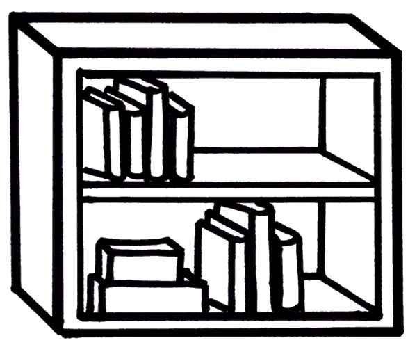 Bookshelf, : Bookshelf with Little Books Collection Coloring Pages
