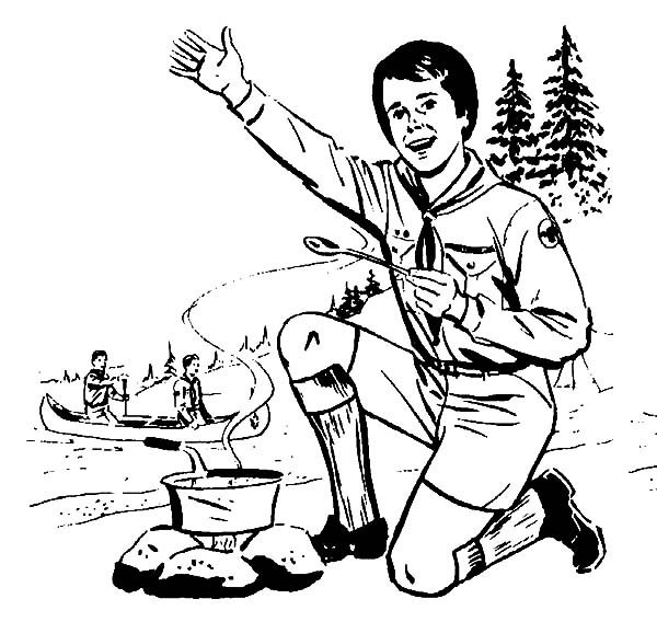 Boy Scouts, : Boy Scouts Cooking Job Coloring Pages