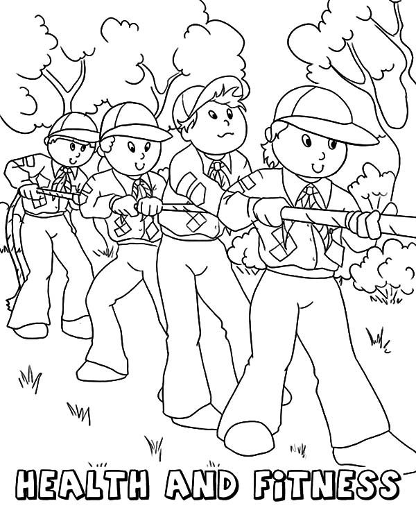 Boy Scouts, : Boy Scouts Core Value Health and Fitness Coloring Pages