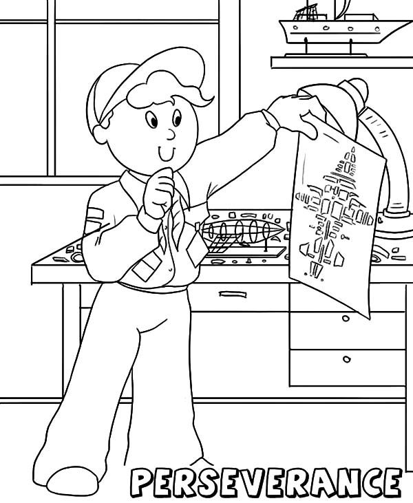 Boy Scouts, : Boy Scouts Core Value Perseverance Coloring Pages