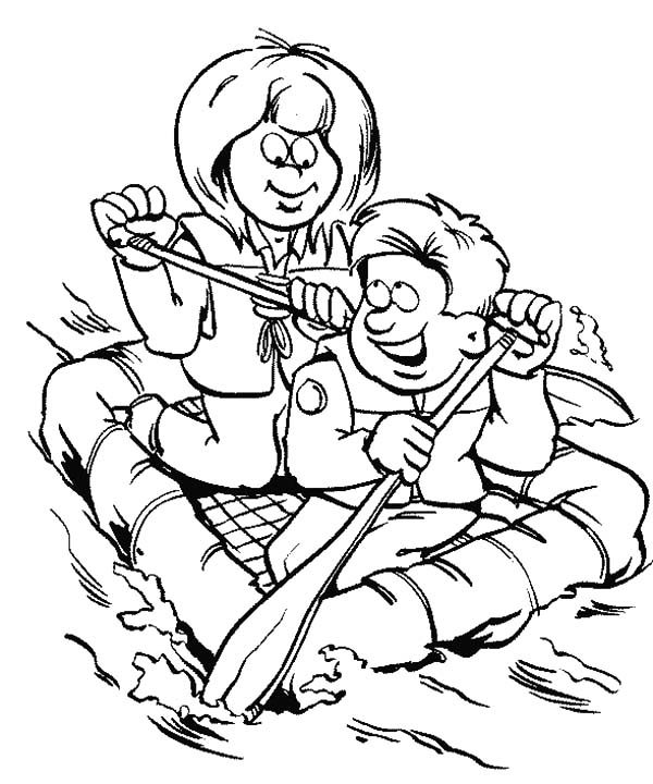 Boy Scouts, : Boy Scouts Exploring the River Coloring Pages